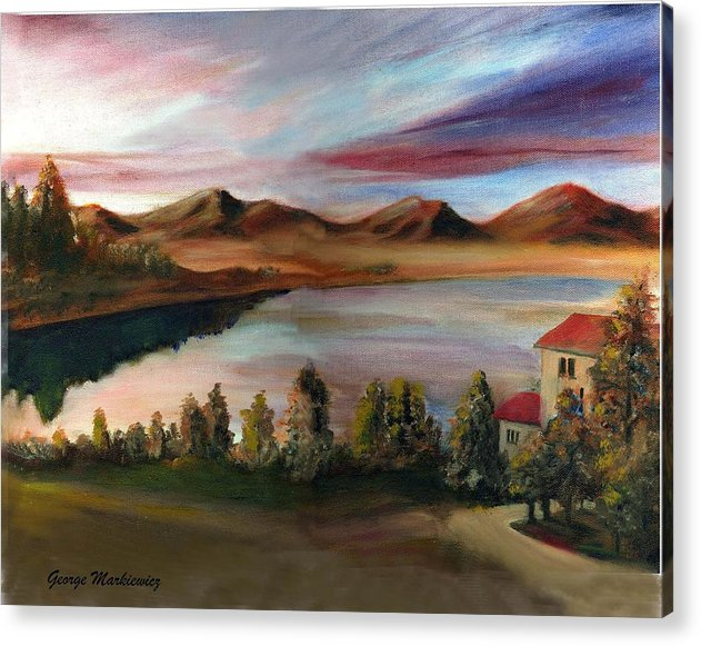 Lake Landscape Acrylic Print featuring the print Sunrise Lake by George Markiewicz