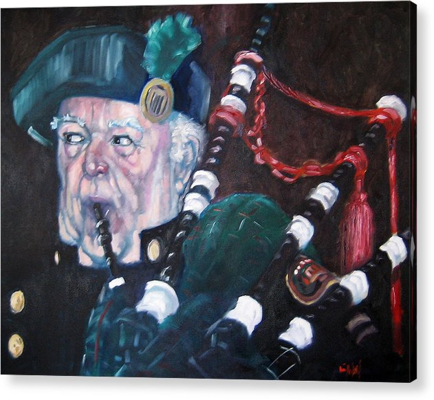 Scottish Irish Ireland Scotland Music Portrtait Acrylic Print featuring the painting The Piper by Kevin McKrell