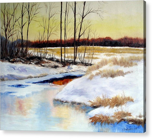 Maine Nature Paintings Original Art Landscape Acrylic Print featuring the painting Winter Stream 1107 by Laura Tasheiko