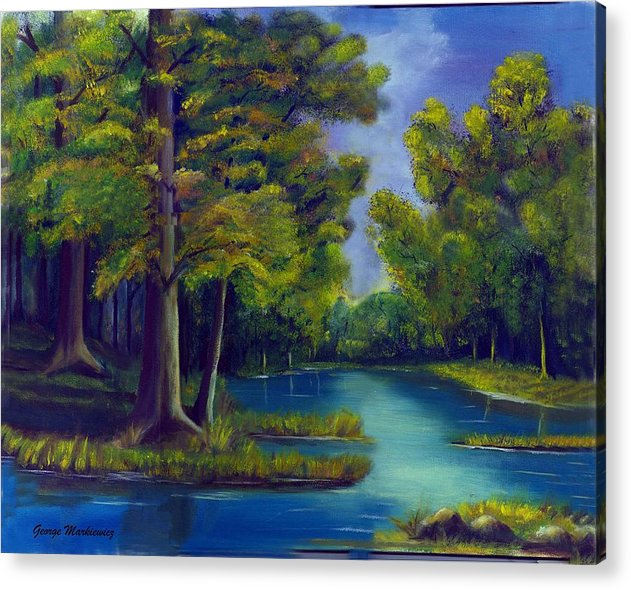 Water Landscape Acrylic Print featuring the print Deep Woods by George Markiewicz