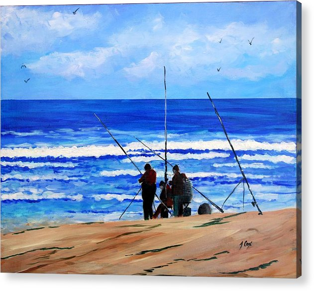 Seascape Acrylic Print featuring the painting Gone Fishing 2 by John Cox
