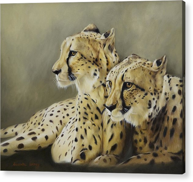 Cheetah Acrylic Print featuring the painting Stranger In The Midst. by Lucinda Coldrey