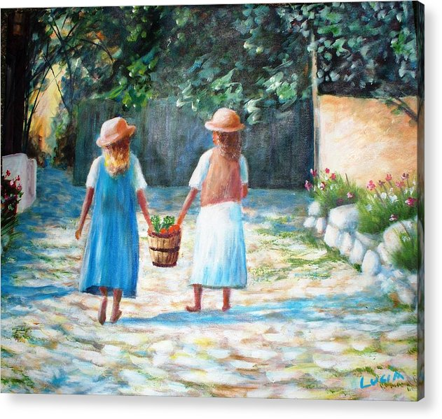 Garden. Girls.flowers. Fruit. Acrylic Print featuring the print Sisters by Carl Lucia