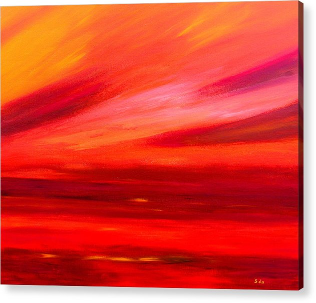 Caribbean Acrylic Print featuring the painting Tequila Sunrise by Sula Chance