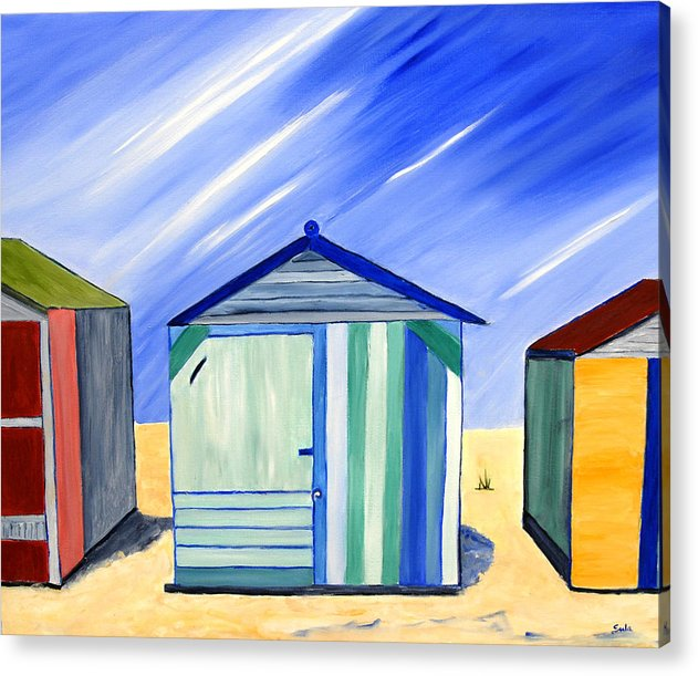 Caribbean Acrylic Print featuring the painting Beach Shacks by Sula Chance
