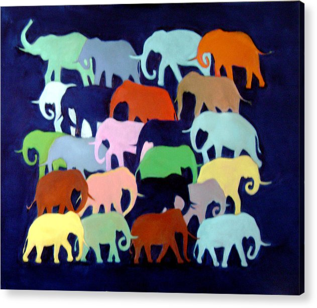 Elephants Acrylic Print featuring the painting Elephants Going And Coming by Camilo Lucarini