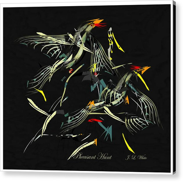 Game Birds In Startled Flight. Acrylic Print featuring the digital art The Pheasant Hunt by Jerry White