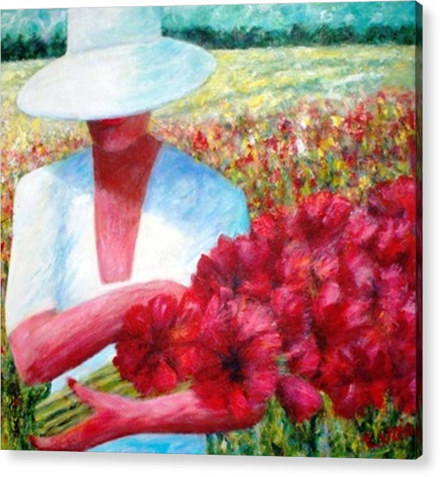 Woman. Field. Counrty. Flowers. Memories. Acrylic Print featuring the print Memories In Red by Carl Lucia