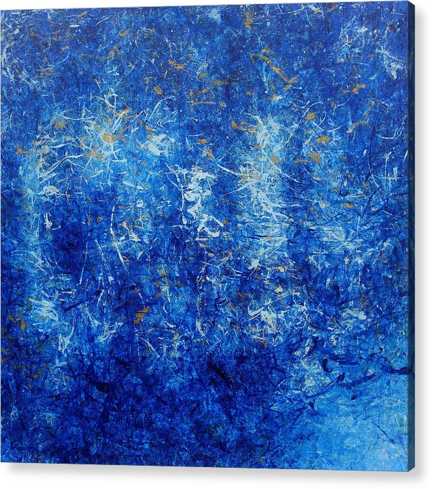 Blue Abstract Acrylic Print featuring the painting Seeking Home by Shanni Ong