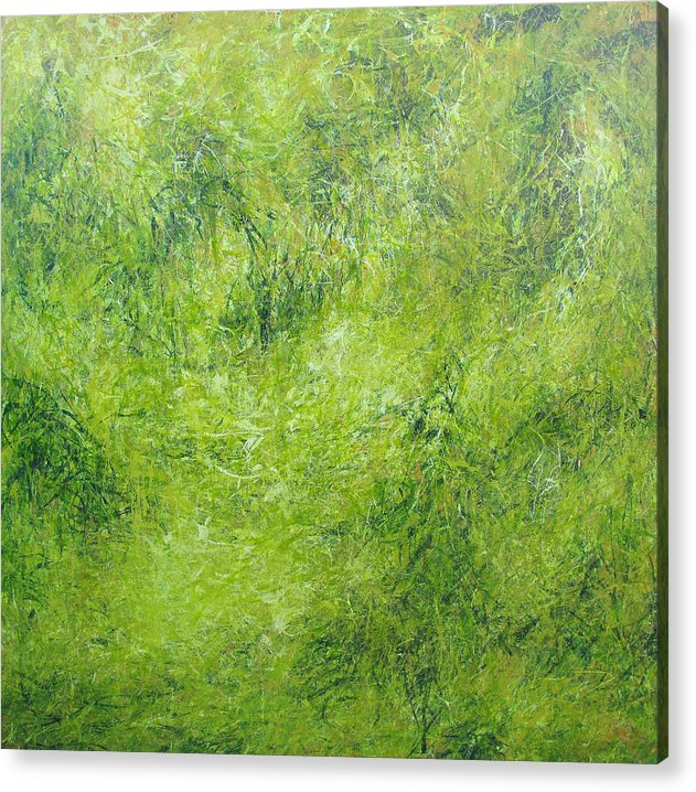 Green Abstract Acrylic Print featuring the painting Song Of Silent I by Shanni Ong