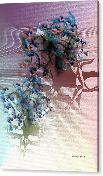 Abstract Realism Fashion Ladies Hats Feathers Acrylic Print featuring the digital art Fashion Show by Carolyn Staut