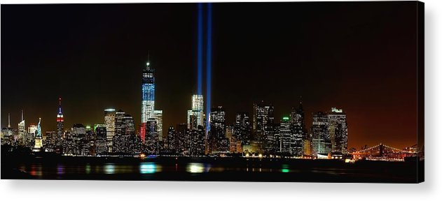 9-11 Acrylic Print featuring the photograph Tribute In Light From Bayonne by Nick Zelinsky