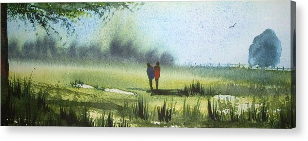 Walking Acrylic Print featuring the painting Sunshine Stroll by Trudy Kepke