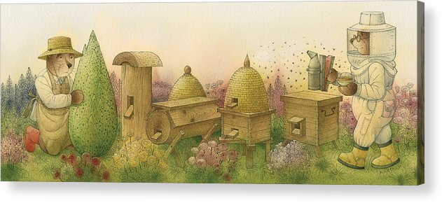 Bears Garden Flowers Apiary Honey Glamour Acrylic Print featuring the painting Florentius The Gardener13 by Kestutis Kasparavicius