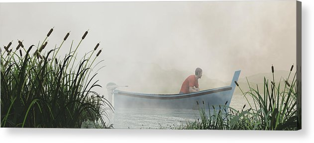 Fisherman Acrylic Print featuring the digital art In A Fog by Margaret Wingstedt