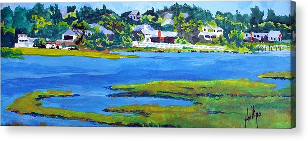 Emerald Isle Intercoastal Waterway Acrylic Print featuring the painting Leaving The Island by Jim Phillips