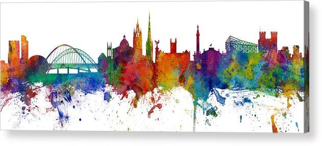 City Acrylic Print featuring the digital art Newcastle England Skyline Custom Panoramic by Michael Tompsett