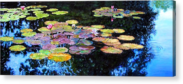 Water Lilies Acrylic Print featuring the painting Peace Among The Lilies by John Lautermilch