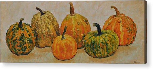 Still Life Acrylic Print featuring the painting Still Life With Pumpkins by Iliyan Bozhanov