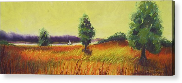 Smith Mountain Lake Acrylic Print featuring the painting Summer's Heat by Wynn Creasy