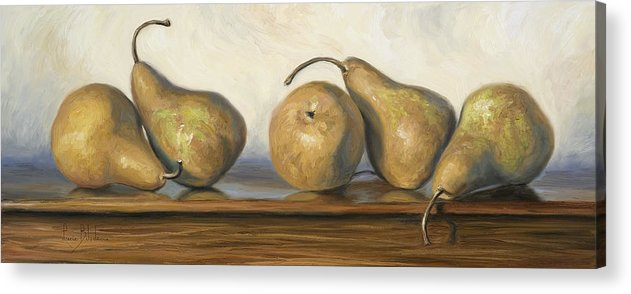 Pear Acrylic Print featuring the painting Bosc Pears by Lucie Bilodeau