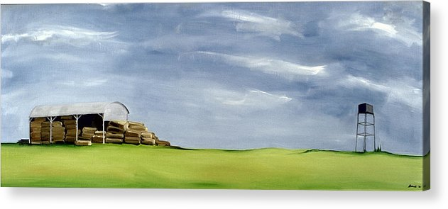Agriculture & Rural Scenes Acrylic Print featuring the painting Haybarn Dreaming by Ana Bianchi