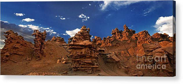 North America Acrylic Print featuring the photograph Panoramic Sunset Light On Sandstone Formations Fantasy Canyon by Dave Welling