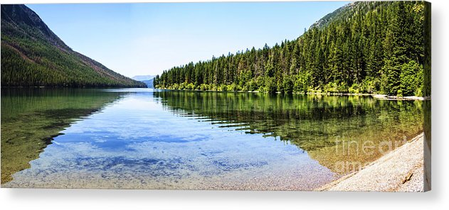 Kintla Lake Acrylic Print featuring the photograph The Best Beach In Glacier National Park Panorama by Scotts Scapes