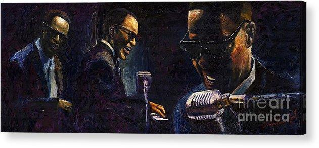 Jazz Acrylic Print featuring the painting Jazz Ray Charles by Yuriy Shevchuk
