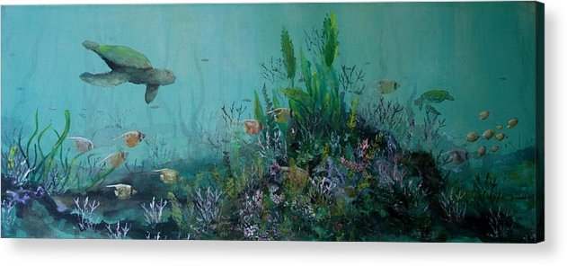 Turtle Acrylic Print featuring the painting Endangered Green by Ana Bikic