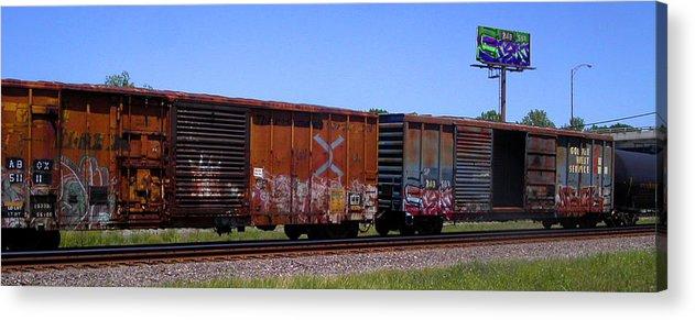 Train Acrylic Print featuring the photograph Graffiti Train With Billboard by Anne Cameron Cutri