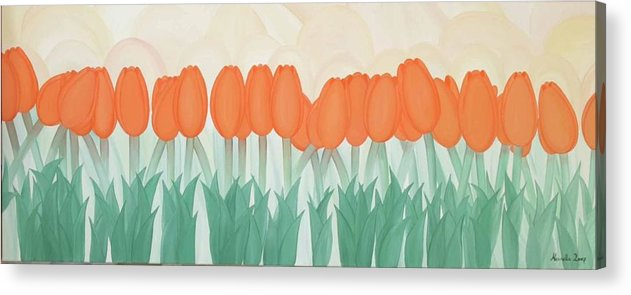 Marinella Owens Acrylic Print featuring the painting Orange Tulipans by Marinella Owens