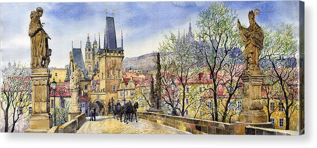 Watercolour Acrylic Print featuring the painting Prague Charles Bridge Spring by Yuriy Shevchuk