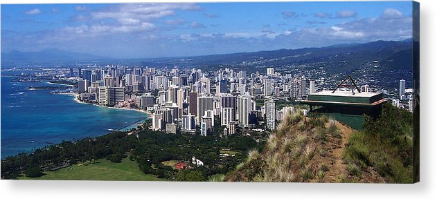 Landscape Acrylic Print featuring the photograph Downtown Honolulu by Michael Lewis
