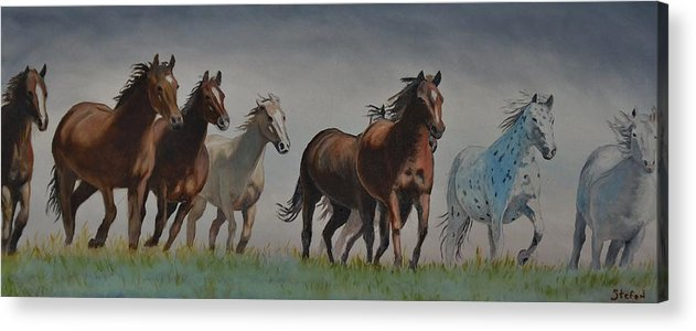 Horses Acrylic Print featuring the painting Early Morning Run by Stefon Marc Brown