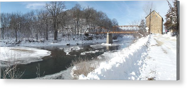 Elkader Iowa Acrylic Print featuring the photograph Motor Mill Winter Pano by Bonfire Photography