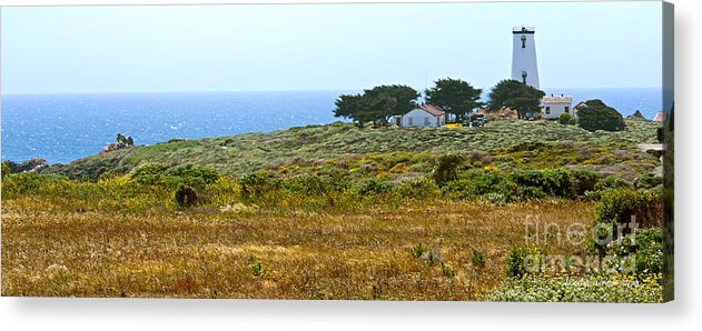 Piedras Blancas Lighthouse Acrylic Print featuring the photograph Piedras Blancas Lighthouse Near San Simeon And Cambria Along Hwy 1 In California by Artist and Photographer Laura Wrede