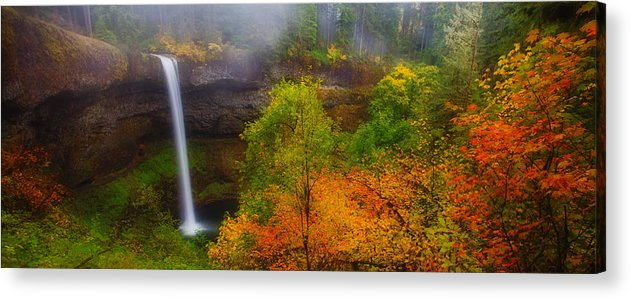 Silver Falls Acrylic Print featuring the photograph Silver Falls Pano by Darren White