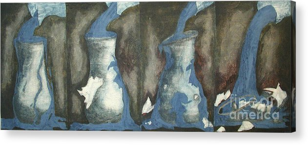 Water Acrylic Print featuring the painting Broke Down- This Vase Cannot Hold Any More by Sarah Goodbread