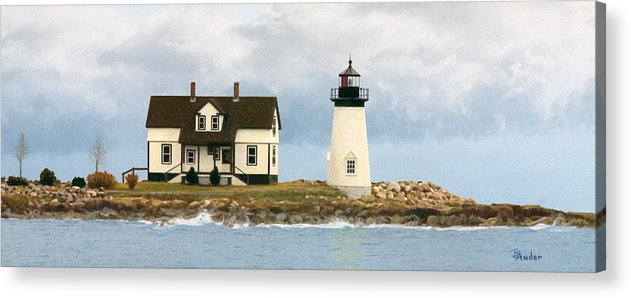 Lighthouse Acrylic Print featuring the drawing Foggy Guardian by Brent Ander