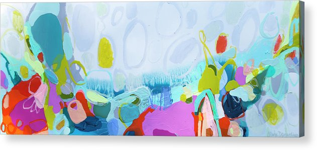 Abstract Acrylic Print featuring the painting Just Sing by Claire Desjardins