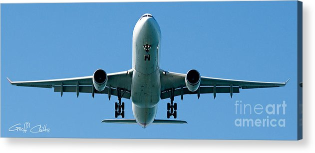 Aircraft Acrylic Print featuring the photograph Commercial Aircraft At Sydney Airport by Geoff Childs