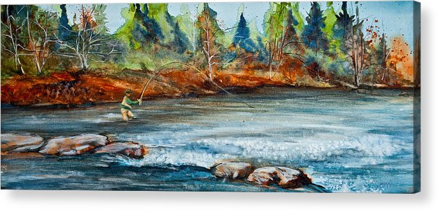Fisherman Acrylic Print featuring the painting Fish On by Jani Freimann
