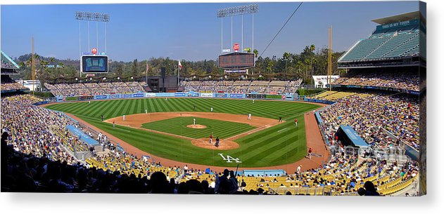 Dodgers Acrylic Print featuring the photograph Dodger Stadium Panorama by Eddie Yerkish