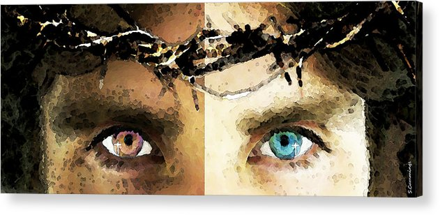 Christian Acrylic Print featuring the painting Jesus Christ - How Do You See Me by Sharon Cummings