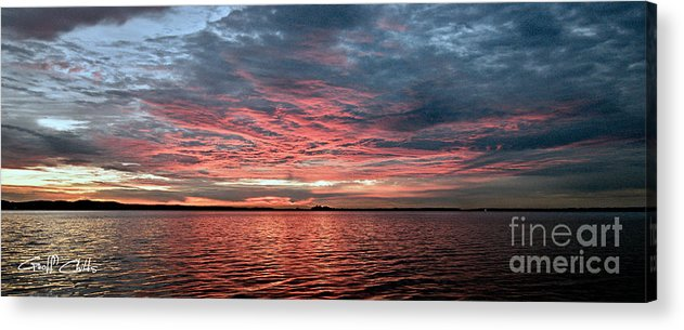 Sunrise Acrylic Print featuring the photograph Pink And Grey At Sea - Sunrise Panorama by Geoff Childs