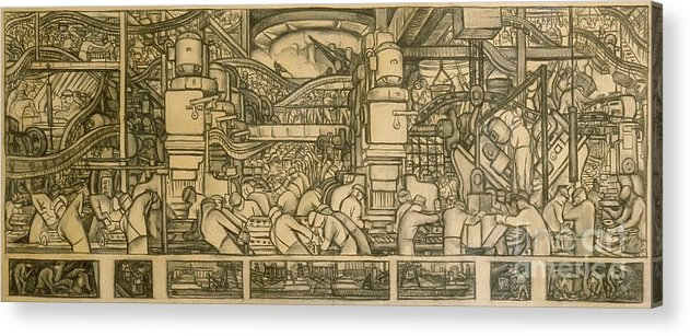 Diego Rivera Acrylic Print featuring the drawing Presentation Drawing Of The Automotive Panel For The North Wall Of The Detroit Industry Mural by Diego Rivera