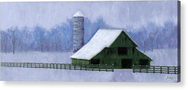 Barn Acrylic Print featuring the painting Turner Barn In Brentwood by Janet King