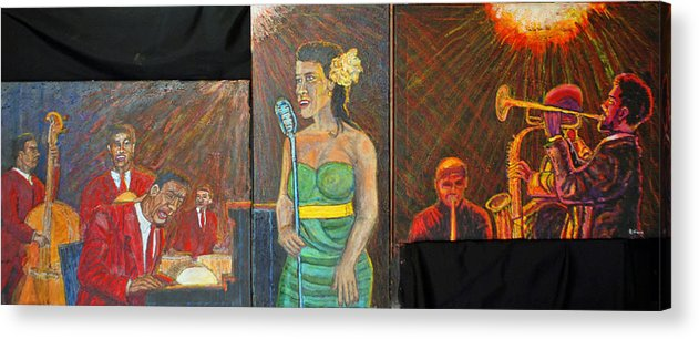 Jazz Acrylic Print featuring the painting Jazz Band by Richard Wynne