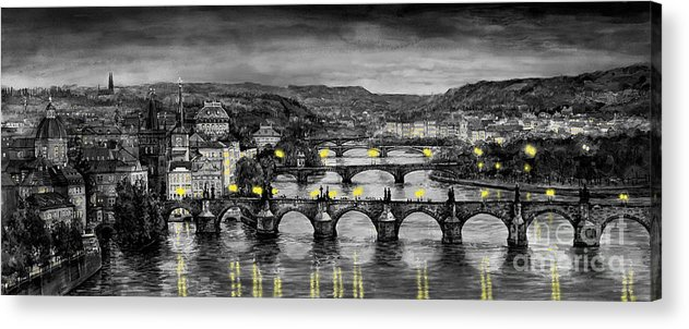 Prague Acrylic Print featuring the painting Bw Prague Bridges by Yuriy Shevchuk